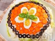 Солена палачинкова торта с риба тон, варени яйца, майонеза и кисели краставички